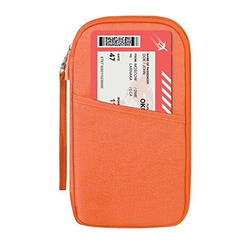 Organizador de viaje - carteras para pasaporte con correa de mano portadocumentos de viaje para Tarjetas Documentos de identidad Dinero Boleto Teléfono