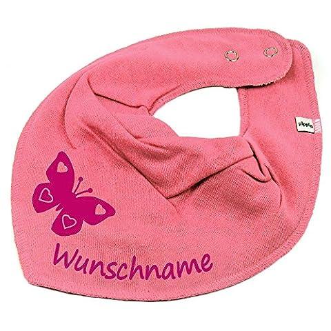 HALSTUCH SCHMETTERLING mit Namen oder Text personalisiert bubblepink für Baby oder Kind (Schmetterling Tuch Lätzchen)