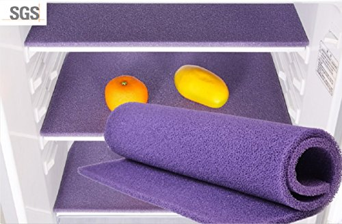 Silicone Food Safe Washable Durable Anti-mould Air-Circulating Refrigerator Liner Set Mat (Purple) by DAH