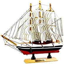 MagiDeal Modelo Náutico de Nave Barco De Vela de Madera Decoración de Hogar Oficina - Blanco