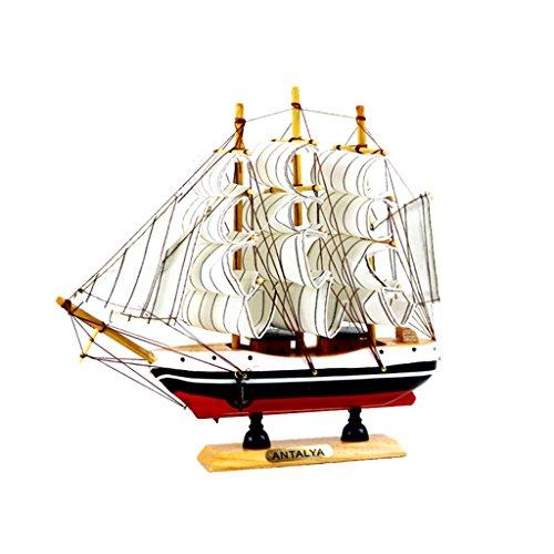 MagiDeal Nautische Schiffsmodell Piratenschiff aus Holz, Kreative Büro Arbeitszimmer Deko, Kinder Geschenke - Weiß (Piratenschiff Holz-modell-bausatz)