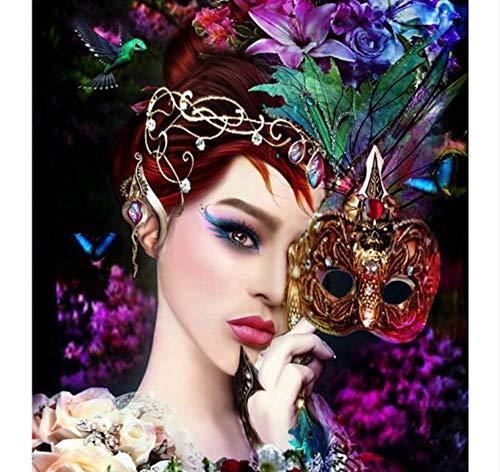Malerei Maske Mädchen Kreuz Diamant Voller Diamanten Stickerei Mosaik Handgemachte Dekoration Jahr Geschenk 40X55 cm Rahmenlose ()