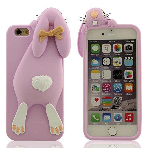 "iPhone 7 Plus Hülle Case, Weich Silikon Cover für Apple iPhone 7 Plus 5.5"", 3D Niedlich Hase Serie Stoßfest Schutzhülle für iPhone 7 Plus Lila"