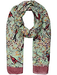 World of Shawls Ladies Women's Colorful Long Bird and Flower Print Scarf Wraps Shawl Maxi Soft Scarves