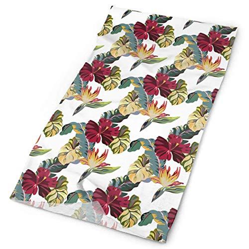 Pizeok Seamless Hawaiian-Style Flowers and Leaves Men Women Face Mask Neck Gaiter Sun Shade Shield Bandanas Headwear Wide Headbands Scarf Head Wrap Design5
