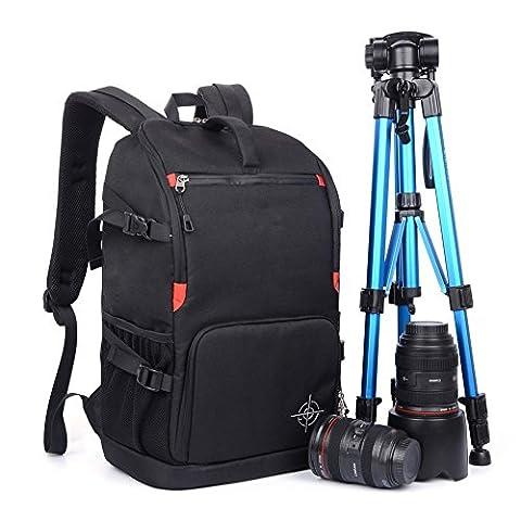 Sac à Dos Appareil Photo, Beaspire Sac à Dos Housse Sacoche anti-choc Imperméable Randonnée pour vidéo caméra reflex numérique SLR (Noir)