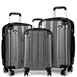 Kono Luggage Sets of 3 Piece Lightweight 4 Wheels Hard Sheel ABS Travel