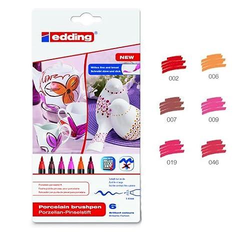 Edding Porzellan-Stift Set à 6 Stück, Rottöne [Spielzeug] (Porzellan Spielzeug)