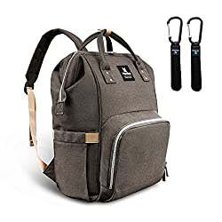 Hafmall Baby Changing Bag Rucksack Multi-function Travel Nappy Changing Backpack With Stroller Straps (Gray)