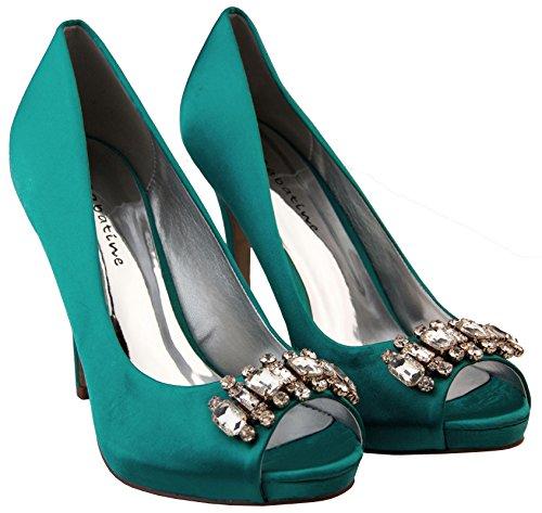 Donna Sabatine scarpe da sposa a grappolo diamante raso Ottanio