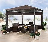 Grasekamp Gartenpavillon Antik Pavillon Partyzelt 3x3m Taupe mit 2 Seitenteile