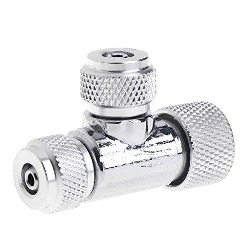 Manyo 1 Stück CO2-Nadelventil für System-Anzeige - Druckverteiler, 4 cm x 1,5 cm x 3 cm, Silber, Geeignet für DIY Gepflanztes Aquarium.