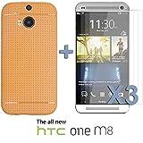 OnlineBestDigital - Colorful Hard Back Case for HTC One M8 - Orange avec 3 Film de Protection
