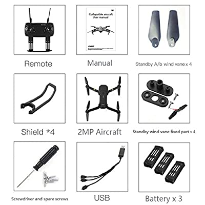 Qinyin E58 WIFI FPV With Wide Angle HD Camera High Hold Mode Foldable Arm RC Quadcopter RTF Drone + 1 Cable & 3 Batteries