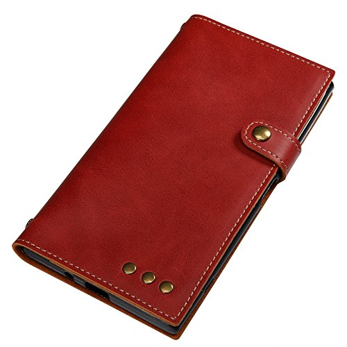Retro Style Crazy Horse Texture Case PU Leder Flip Stand Case mit Geldbörse Tasche & Magnetverschluss & Lanyard für Sony Xperia XZ PREMIUM ( Color : Brown ) Red