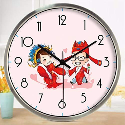 ung Wanduhr Home Office Decor für Wohnzimmer Schlafzimmer und Küche Wanduhr? Alte Kostüm Paare Cartoon Uhren Modern Decor Mute 12 In ()