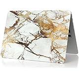 MacBook Pro 15Retina pulgadas Case: fogeek Hard Case Print Frosted patrón de mármol recubierto de goma funda carcasa para Macbook Pro 15pulgadas retina (Modelo: A1398) - White and Gold