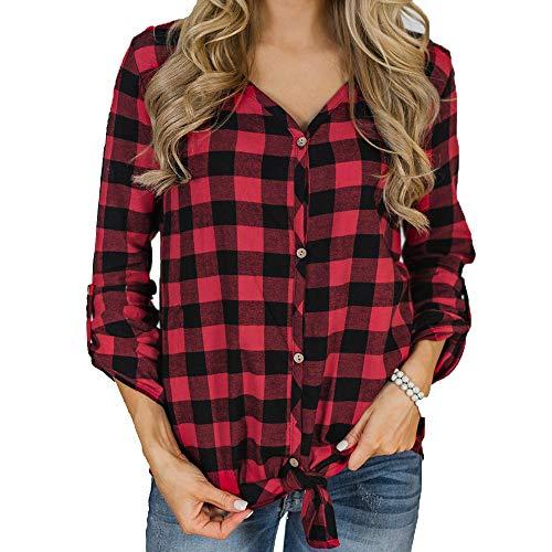 TUDUZ Damen Polka Dot V-Ausschnitt Langarm Hemd mit Knopfleiste Bluse T-Shirt Tunika ()