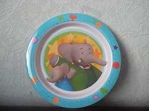Assiette mélamine plate 22 cm environ pour enfants ou bébés BABAR LES AVENTURES DE BABOU