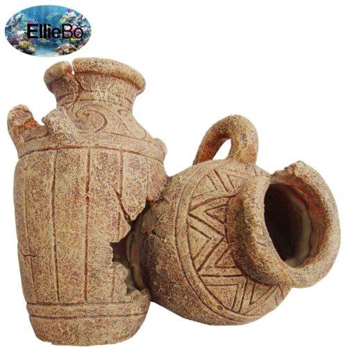 Ellie-Bo Dekoelement für Aquarien, Design antike Vase, aus Kunstharz, handbemalt, 20x14x16cm