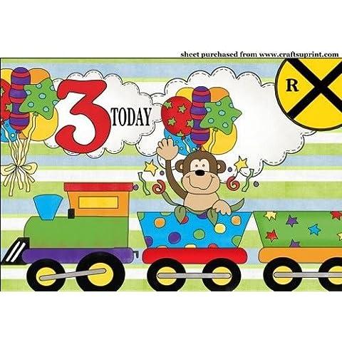 Scimmia Età 3compleanno treno Topper da Sharon Poore - Scimmia Treno