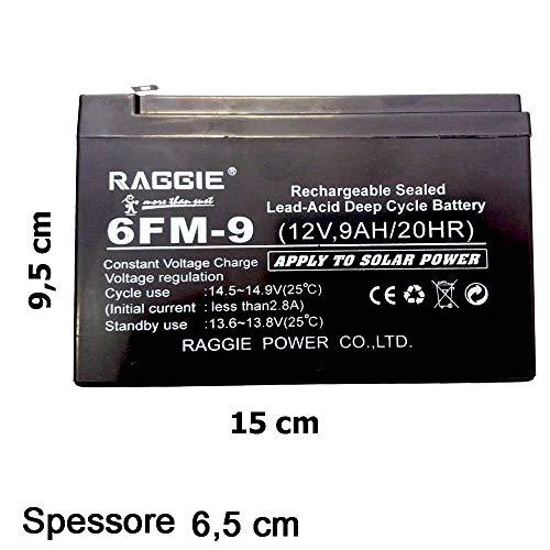 DOBO® Batteria al piombo ermetica 12V 9Ah senza manutenzione non spillabile con attacchi faston dimensioni 150 x 66 x 95 mm