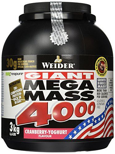 Weider, Mega Mass 4000, Cranberry-Joghurt, 1er Pack (1 x 3 kg)