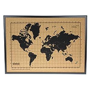 Mapa mundi de corcho pared marco madera negro – Mapa del mundo para marcar viajes – Tablero de corcho – Regalos originales para viajeros – Diseñado y fabricado en España por Milimetrado
