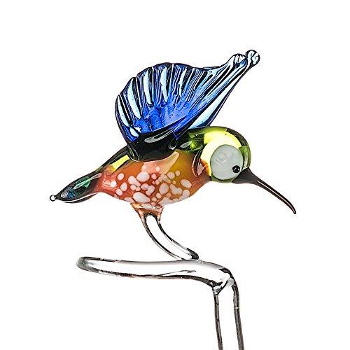 Adorno de pájaro de cristal flor de la orquídea Planta apoyo estacas