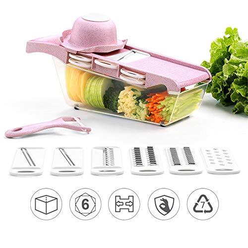 QHGao Multifunktions-Gemüseschneider 10-Teiliges Set, 6-In-1-Obst- Und Gemüseschneider, Küchen-Multifunktions-Schutzgurtseparator, Sichere Und Nicht Verletzende Hände, Doppelte Farbe Optional,Rosa (Rosa Koch Messer-set)