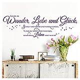 Grandora Wandtattoo Spruch Glaube an Wunder Liebe und Glück I violett (BxH) 130 x 41 cm I Wohnzimmer Flur Sticker Aufkleber Wandsticker Wandaufkleber W5393
