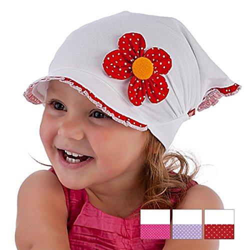 Kopftuch Dreiecktuch Mütze Schirmmütze Stirnband für Mädchen Baby Kinder Baumwolle mit Muster-Punktchen Schirmmütze1690 (46 - 48 cm Kopfumfang + 5 cm dehnbar, Rot / Weiß)