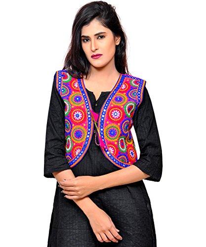 Banjara Women's Cotton Blend Kutchi Embroidered Jacket/Koti (SSP-TAN06 - Pink)  available at amazon for Rs.244