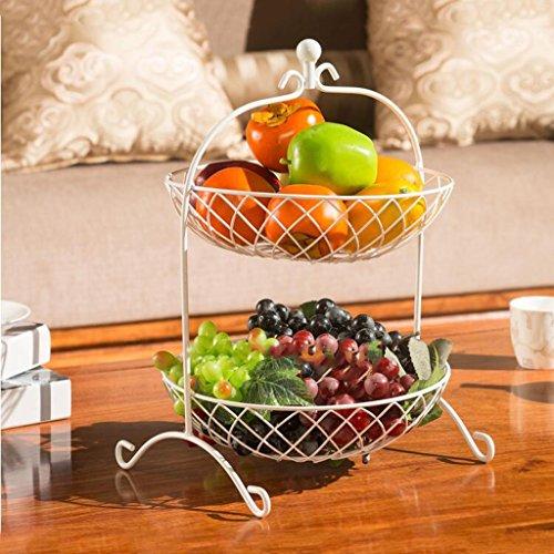 Früchtekorb XM ZfgG Wohnzimmer Kreative Mode Obstkorb 2 Tier Metall Obstteller Eisen Blume Körbe Küche Racks Getrocknete Obstschale (Farbe : Weiß) (2-tier-korb)