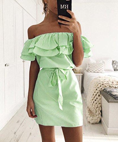 NiSeng Donne Fuori Dalla Spalla Balze Vestiti Estate Slim Striscia Corto Vestito Dalla Spiaggia Eleganti Abiti Da Sera Verde