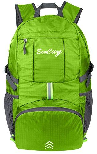 Imagen de ecocity ultra ligero 30l ripstop impermeable doblable excursionismo daypacks backpack  para viaje camping,excursion,trekking,montaña y escalada con sistema de hidratacion, verde