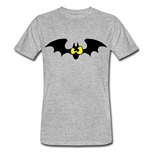 Lustige Comic Fledermaus Männer Bio-T-Shirt von Spreadshirt®, L, Grau (Lustige Kostüme Haloween)