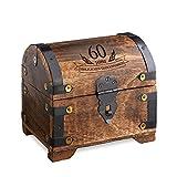 Casa Vivente - Geld-Schatztruhe zum 60. Geburtstag mit Gravur - Dunkel - Bauernkasse - Schmuckkästchen - Spardose - Aufbewahrungsbox aus Holz - lustige und originelle Geburtstagsgeschenk-Idee - 14 cm x 11 cm x 13 cm