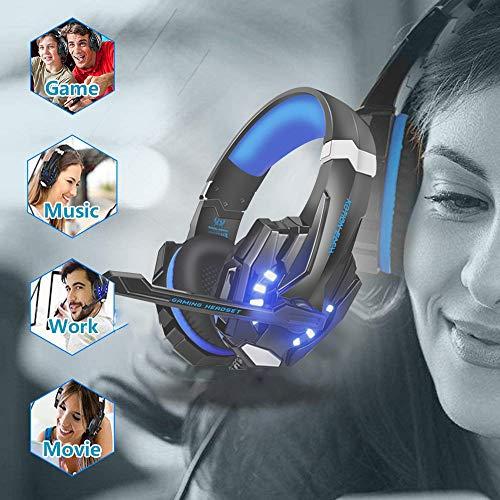 VTAKOL V9 Gaming Headset für PS4, 3.5mm Surround Sound Kabelgebundenes Gaming Kopfhörer mit Mikrofon, LED-Licht, Kopfhörer für Laptop, Xbox one, PC, Smartphone - 6