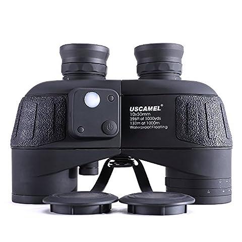 USCAMEL 10X50 Fernglas, HD Militär Feldstecher mit Reichweitenanzeige, Multifunktions-Kompass, Ideal für Die Vogelbeobachtung, Die Jagd, Beim Segeln,