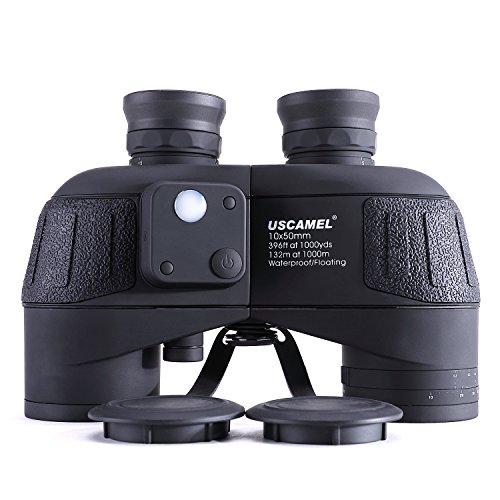 USCAMEL 10X50 Fernglas, HD Militär Feldstecher mit Reichweitenanzeige, Multifunktions-Kompass, Ideal für Die Vogelbeobachtung, Die Jagd, Beim Segeln, Black