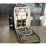 icase4u® Mochila de picnic para cuatro personas con kit de vajillas (Ejército Verde)