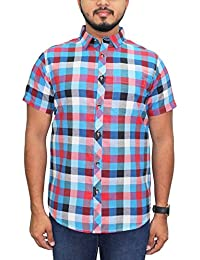 Kuons Avenue Red & Blue Checks Half Sleeve Casual Party Shirt