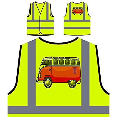 VW Van Campervan Weinlese lustig Personalisierte High Visibility Gelbe Sicherheitsjacke Weste a689v