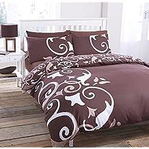 Cama Abigail espirales ruedas diseño chocolate marrón edredón funda 3Tamaños, marrón, Doppel
