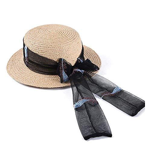 Sommer Stroh Boater Sonnenhut Sonnenhut Damen Sommer Flat Top Lafite Fashion Sonnenhut Mesh Fliege Band Weiblich Weiblich Sonnenhut Für Damen Damen Mädchen (Farbe: Schwarz, Größe: 56-58 cm) (Weibliche Kostüme Western)