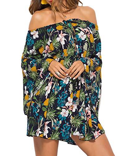 kenoce Damen Schulterfrei Kleider Blumendruck Minikleid Langarm Asymmetrisch Sommerkleider Strandkleider A-Linie Partykleid Y-Dunkelgrün M - Asymmetrische Geraffte Kleid