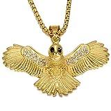Qiulv Águila Colgante de Hip-Hop Helado Cadena de Oro del pájaro Collar Micro Pave Zirconia Joyas de Piedras Aniversario de Bodas, día de San Valentín Regalo para un Amigo Amante