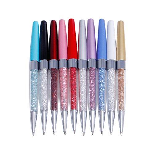 Exing Stylos à bille, métal strass diamant noir encre stylo cadeau pour les hommes femmes Stylos à bille roulante en vrac Pen Fin Point 1 stylo, livraison aléato