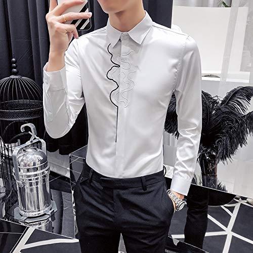 MKDLJY Herren-Hemd Stickerei Shirts Männer Casual Slim Fit Social Business Hemden Designer Tuxedo Shirt -